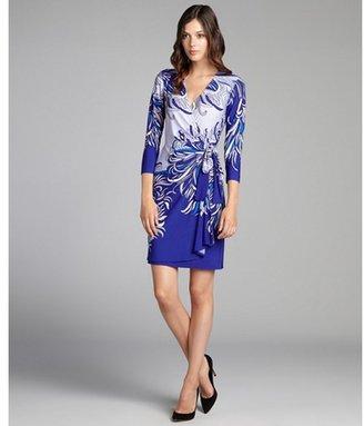 Donna Morgan blue patterned stretch jersey wrap dress