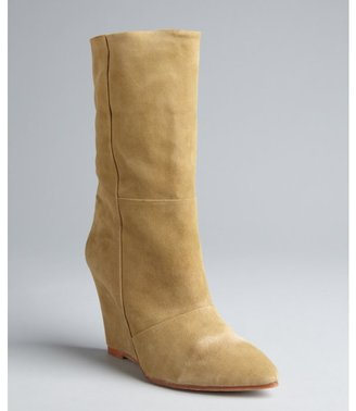 Madison Harding tan suede 'Wendell' mid-calf wedge boots