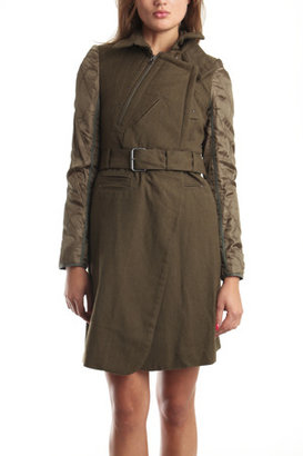 Edun Quilted Trench with Belt in Olive