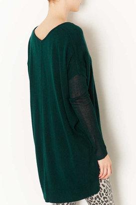 Topshop Knitted Sheer Solid V Neck Top