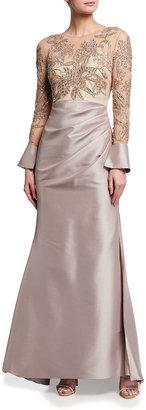 Beaded Bodice Long-Sleeve Mikado Gown