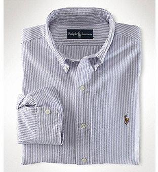 Ralph Lauren Boys' 4-20 Blue Multi Long Sleeve Striped Oxford Shirt