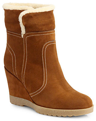 Aquatalia by Marvin K City Suede Wedge Mid-Calf Boots