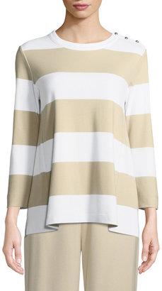 Joan Vass Petite Striped Pullover Top