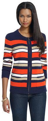 Jones New York Signature JONES NEW YORK Long-Sleeve Striped Sweater Jacket