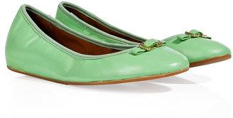 Diane von Furstenberg Green Haze Leather Bion Ballerinas