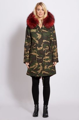 Popski London 3-4 Camouflage Parka With Burgundy Fur Collar And Lining