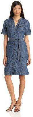 Jones New York Women's Roll Sleeve Denim Shirtdress