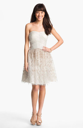 Adrianna Papell Strapless Glitter Flared Dress