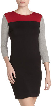 French Connection Colorblock Knit Dress, Black/Red