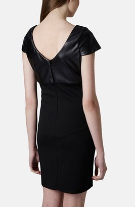 Topshop Faux Leather Bodice Body-Con Dress