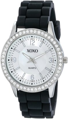 XOXO Women's XO8037 Black Bumpy Silicone Rubber Strap Watch
