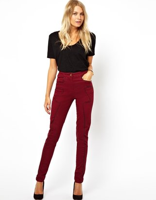 Asos High Waist Skinny Pants with Leather Look Trim