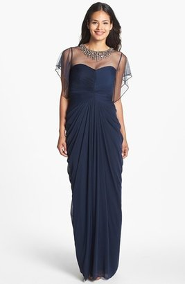 Adrianna Papell Embellished Illusion Yoke Mesh Gown