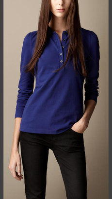Burberry Long Sleeve Check Collar Polo Shirt
