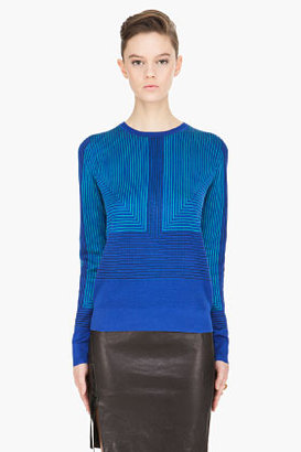 Proenza Schouler royal blue Silk striped Jacquard Crewneck