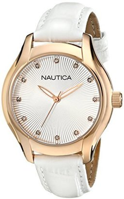 Nautica Women's N12657M NCT 18 Mid Analog Display Quartz White Watch $125 thestylecure.com