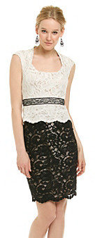 Jax Two-Tone Lace Peplum Dress