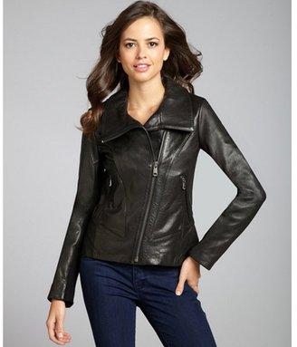 Andrew Marc New York black leather asymmetrical knit sleeve zip jacket