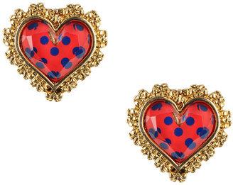 Betsey Johnson Polka Dot Heart Stud Earrings