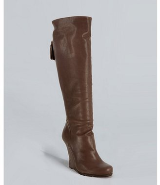 Yves Saint Laurent taupe leather 'Jinny 105' wedge boots