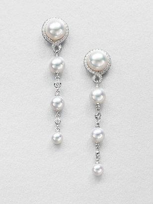 Mikimoto Diamond, Akoya Cultured Pearl and 18K White Gold Earrings