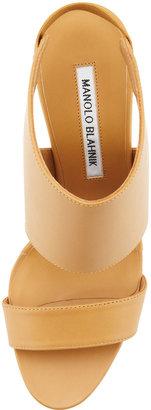 Manolo Blahnik Open-Toe Elastic Slingback Sandal, Beige