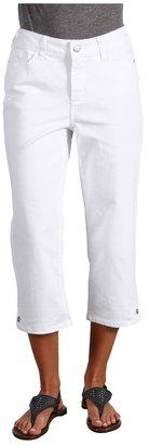 NYDJ Brandi Cropped Colored Embellished Hem Denim (Optic White) - Apparel