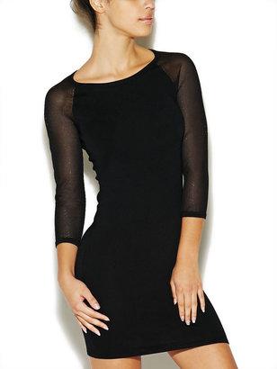 Arden B Mesh-Sleeve Sweater Dress