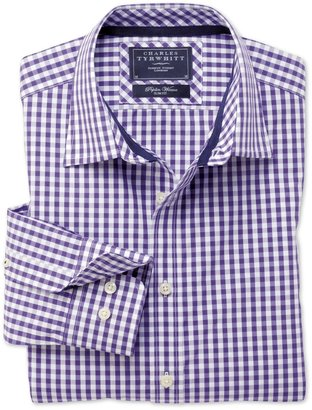 Charles Tyrwhitt Purple gingham weekend slim fit shirt