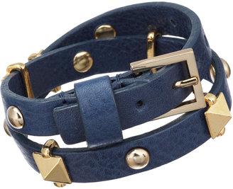 Fallon Skinny Leather Wrap Bracelet with Pyramid Studs