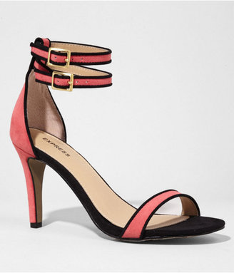Express Piped Double Ankle Strap Heeled Sandal