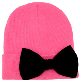 MARIALIA Hot Pink Beanie with Bow