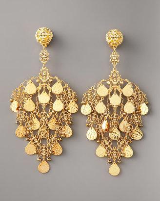 Jose & Maria Barrera Gold Filigree Chandelier Earrings