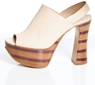 Chloé Wooden Stacked Platform Slingback