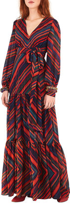 Farm Rio Sunset Stripe Tiered Maxi Dress