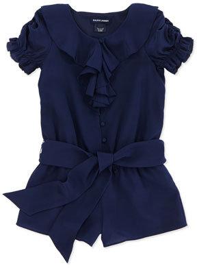 Ralph Lauren Ruffle-Front Silk Romper, Spring Navy, Sizes 4-6X