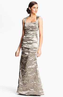 Nicole Miller Open Back Pleated Metallic Trumpet Gown