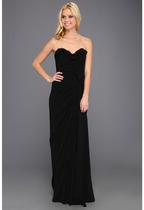 Badgley Mischka Strapless Ruffle Front Gown (Black) - Apparel
