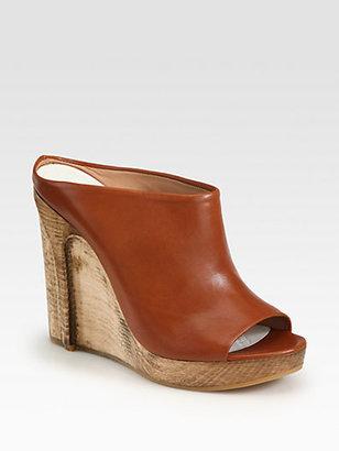 Maison Martin Margiela Leather Waxed Wooden Wedge Slides