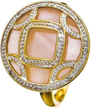 Mother of Pearl Diamond Cut Out Circle Pink Cocktail Ring