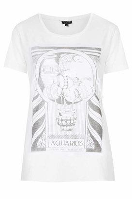 Topshop Cotton jersey t-shirt with aquarius horoscope print. 100% cotton. machine washable.