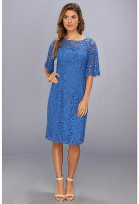 Adrianna Papell Flutter Sleeve Lace Sheath