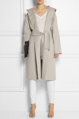 Hooded wool and angora-blend coat