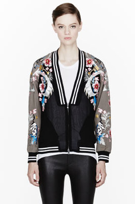 3.1 Phillip Lim Black and khaki Embroidered Souvenir Jacket