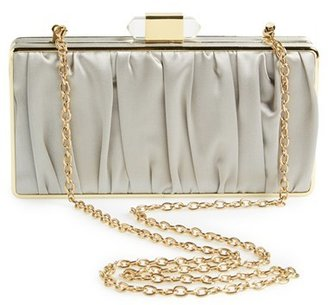 Sondra Roberts Satin Pleat Box Clutch