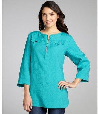 Ellen Tracy teal linen convertible sleeve chain fringe zip neck blouse