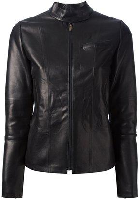 Maison Martin Margiela mandarin collar leather jacket