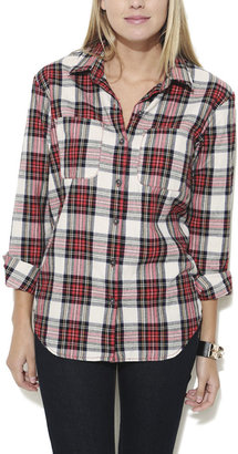 Wet Seal Open Back Plaid Elbow Patch Shirt