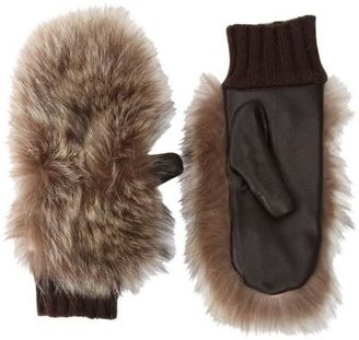Barneys New York Fur Mitten with Leather Palm
